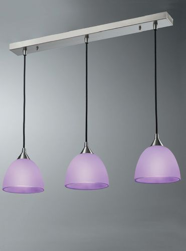 Franklite FL2290/3/949 Satin Nickel & Lilac Pendant Light